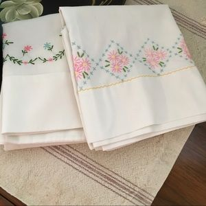 Two Vintage Standard Embroidered Pillow Cases